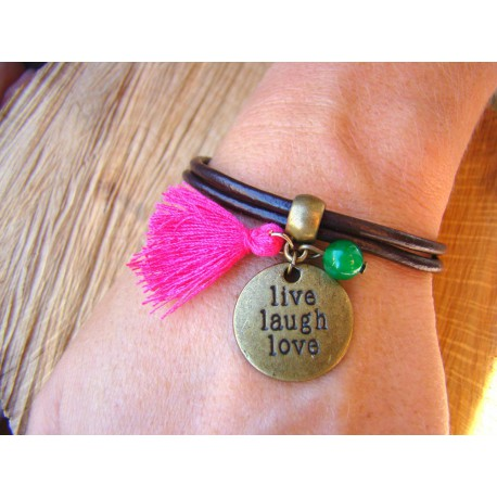 Pulseras Pompón Live Laugh Love